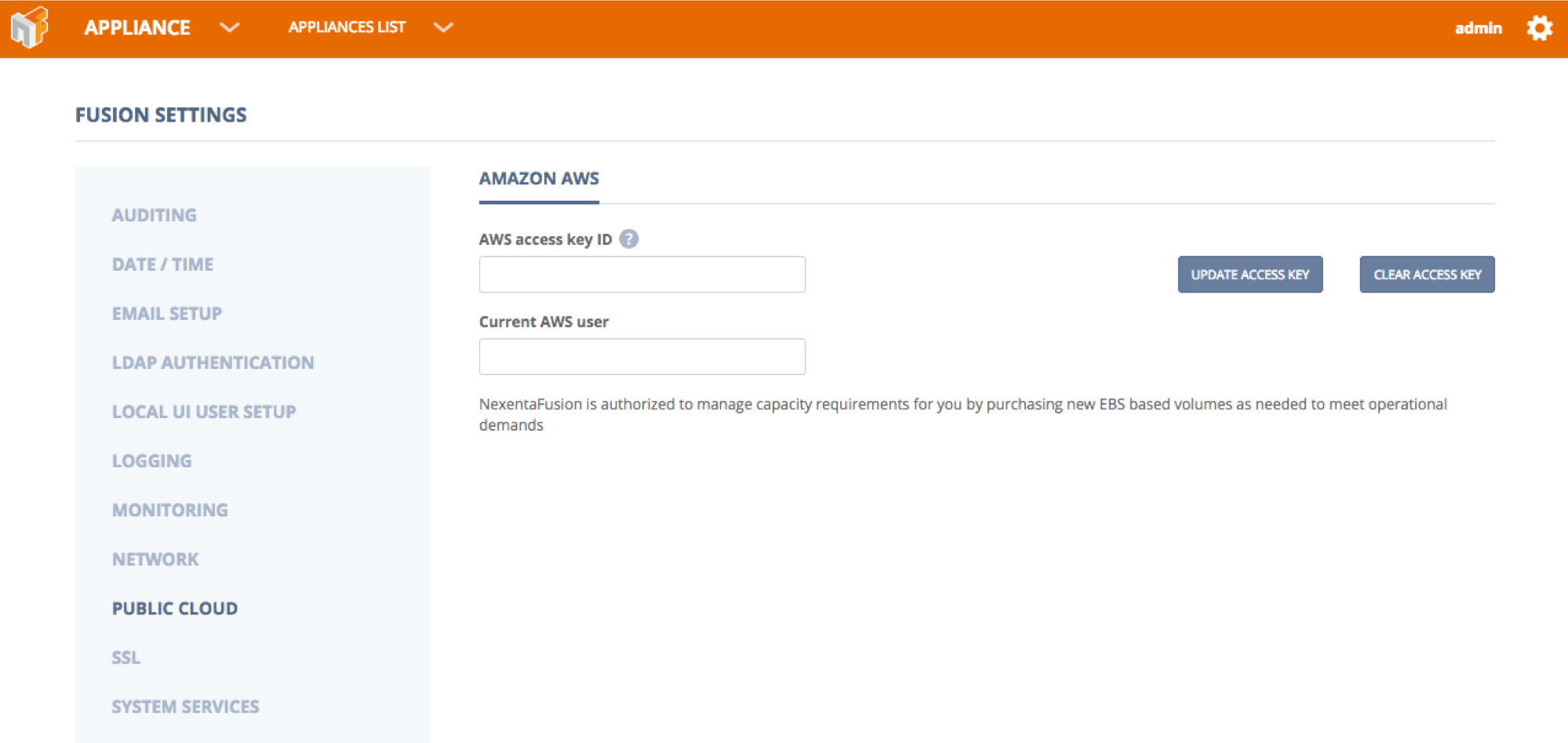 Once Yo U Have NexentaFusion Installed You Only Need To Add In Your AWS  Access Keys In The Fusion Settings. They Can Be Found Under The Main Cog U2013  Settings ...